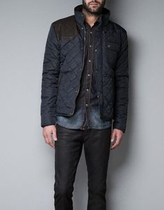 QUILTED JACKET WITH FAUX LEATHER PATCH - Jackets - Man - ZARA