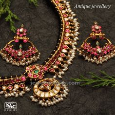 Ruby necklace with ruby Chandbali design - Latest Jewellery Designs