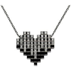 Francesca Grima Black Gold And 51 Diamond Pixel Heart Necklace ($4,264) ❤ liked on Polyvore featuring jewelry, necklaces, black, drop necklaces, gold chain necklace, gold diamond pendant, rose pendant necklace, diamond chain necklaces and heart pendant necklace