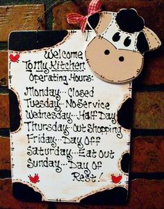8x11 COW Kitchen Operating Hours SIGN Plaque Country Folk Art Wood Crafts Decor