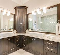 Master bathroom with dual vanities. The Rangemoss #1211. http://www.dongardner.com/house-plan/1211/the-rangemoss. #Master #Bathroom #Vanities