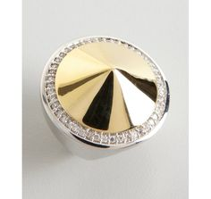 Noir gold and silver large spike crystal ring