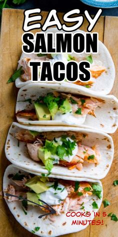 These salmon tacos are the ultimate quick and easy dinner recipe! You will love the simple ingredients and fresh taste, the best part is you can have dinner ready in 20 minutes! For more easy dinner ideas, subscribe to lemonsforlulu.com