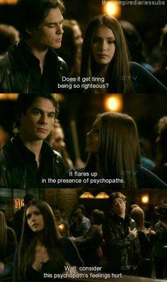 """""""The Vampire Diaries"""" - Elena (Nina Dobrev) and Damon (Ian Somerhalder)"""