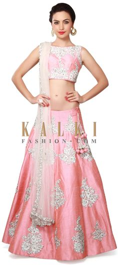 Buy Online from the link below. We ship worldwide (Free Shipping over US$100). Product SKU - 311030. Product Price - $1,629.00. Product link - http://www.kalkifashion.com/pink-lehenga-adorn-in-stone-and-kundan-butti-only-on-kalki.html
