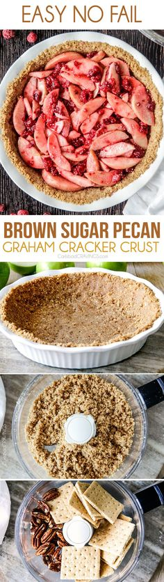 Easy thick, buttery, NO FAIL Brown Sugar Pecan Graham Cracker Crust with only 4 ingredients is perfect for every pie!