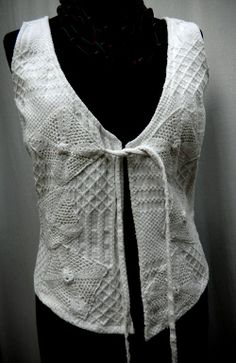 handwoven vintage cotton vest with crochet appliqué available msemmadesigns etsy.com, a special piece , a perfect accessory $45.oo