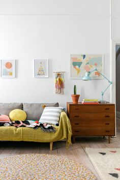 Colourful sitting room in the happy and relaxed boho family home of Chloe Brookman / Ollie Ella). - Photo: Jacqui Turk Styling: Nicole Valentine Don Home Living Room, Living Spaces, Estilo Interior, Scandinavian Home, Living Room Inspiration, First Home, Decoration, Home Interior Design, Home And Family