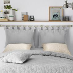 Set of 2 Headboard Covers LA REDOUTE INTERIEURS Cover for headboard cushion, with tab top and zip fastening. Bed Without Headboard, Diy Bed Headboard, Cushion Headboard, Headboard Designs, Headboards For Beds, Headboard Ideas, Home Decor Bedroom, Diy Home Decor, Home Furniture