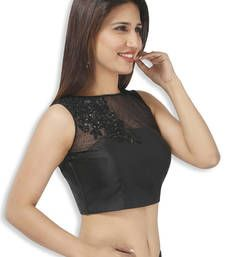 Buy Black bengal silk  and  net embroidery  non padded readymade sleeveless blouse sleeveless-blouse online