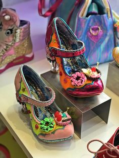 Irregular choice shoes, embellished with flowers and a carved heel Brighton Shops, Visit Brighton, Crazy Shoes, Me Too Shoes, Weird Shoes, High Heel Boots, High Heels, Irregular Choice Shoes, Summer Events