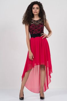 Irony bow BELT BACK ON LONG FUCHSIA DRESS DRESS