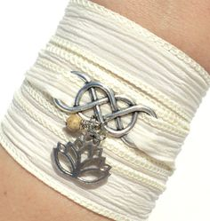 Infinity Silk Wrap Bracelet Yoga Jewelry Lotus New Beginnings Namaste Eternity Love Unique Gift For Her Mothers Day Under 50 Item A37 on Etsy, $33.19 AUD