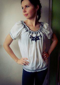 Boho blouse, White and black blouse, boho ethnic blouse, hippie top, short-sleeved tunic, ethno top, hippie blouse