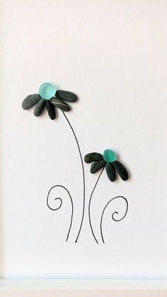 Unframed 5 by 7 sea glass flower pebble art birthday gift