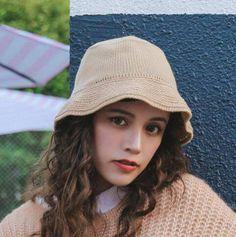 f6c34bc6141 Plain khaki knit bucket hat for women winter wool hats