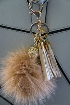 Your place to buy and sell all things handmade Metal Chain, Key Chain, Cute Car Accessories, Cute Keychain, Faux Fur Pom Pom, Planner, Rabbit Fur, Crystal Ball, Manualidades