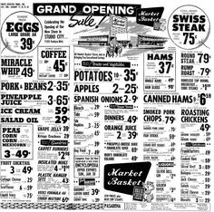 Here is the Grand Opening ad for the Studio City Market Basket store featured in the previous post. This ad appeared in Pasadena, CA 1963 Old Advertisements, Retro Advertising, Retro Ads, Vintage Menu, Vintage Ads, Vintage Tools, Vintage Market, Vintage Items, Retro Recipes