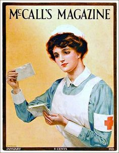 Vintage nurse Illustrated by C.M. Tapps, January 1915.