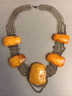 NATURAL-OLD-ANTIQUE-BUTTERSCOTCH-EGG-YOLK-BALTIC-AMBER-BIG-NECKLACE-66-7