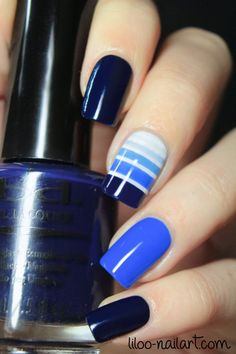 Pretty Painted Fingers & Toes Nail Polish| Serafini Amelia| Love this gradient blue stripe mani from Liloo