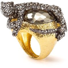Alexis Bittar Siyabona Sunset Gold Pyrite Panther Ring 275 USD ❤ liked on Polyvore  Animal influences play muse to this more-is-more cocktail ring, topped by a pyrite stone and crystal bedecked panther.
