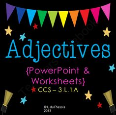 Adjectives PowerPoint and Worksheets from Lindy du Plessis on TeachersNotebook.com -  - Adjectives PowerPoint and Worksheets$  This is a highly visual, interactive and fun adjectives PowerPoint. Students discover what adjectives are through games and exercises.