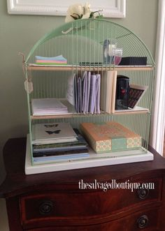 A birdcage's skinny slots are the perfect size for corralling important mail, and when spray-painted in a soft hue, the cage makes for delicate desk decor. Get the tutorial at The Salvaged Boutique Diy Recycling, Bird Cages, Office Organization, Getting Organized, Home Projects, Craft Projects, Craft Ideas, Decorating Tips, Repurposed