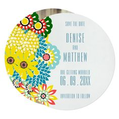 x Exotic Daisies Save the Date Card - vintage gifts retro ideas cyo Vintage Wedding Invitations, Wedding Invitation Cards, Custom Invitations, Wedding Cards, Wedding Sets, Wedding Colors, Invitation Card Design, Invite, Rustic Gifts