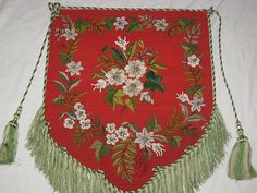 Superb Victorian Beaded Floral Needlepoint Fireplace Screen Panel with Fringe-Christmas Colors