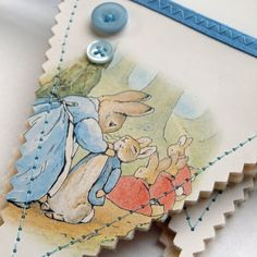 Bunting made from the pages of Beatrix Potter books.