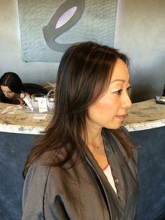 Balayage highlights on Asian hair
