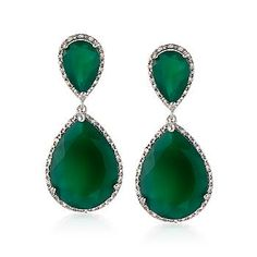 Ross-Simons - 33.40 ct. t.w. Green Agate and .25 ct. t.w. Diamond Drop Earrings in Sterling Silver - #816822