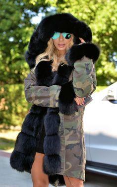 Fur & cars Добавь, ставь нравится, поделись. Add, Like, Share! #furonline #furfashion #furstyle Military Camouflage Parka Coat Saga Fox Fur - Multi-Trade