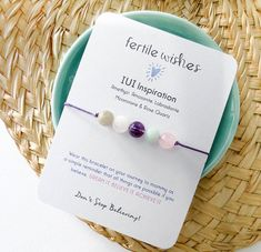 IUI Fertiity Wish Bracelet, IUI Inspiration- Lavender Cord, Fertility bracelet Infertility Blog, Iui Success, In Vitro Fertilization, Wish Bracelets, Beaded Bracelets, Simple Reminders, Trying To Conceive, Getting Pregnant, Muscle Mass