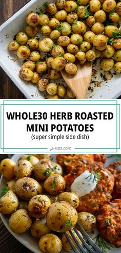 Roasted Mini Potatoes are crispy and flavorful. They're a quick and delicious . Roasted Mini Potatoes are crispy and flavorful. They're a quick and delicious side dish that requires minimal effort and yields excellent results! Side Dishes Easy, Side Dishes For Chicken, Potato Side Dishes, Side Dish Recipes, Easter Side Dishes, Easter Dinner Recipes, Healthy Dinner Recipes, Whole30 Recipes, Kitchen