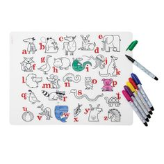ALPHABET ANIMALS PLACEMAT COLORING SET | For Kids, Toy, Game, Mealtime, Fun | UncommonGoods