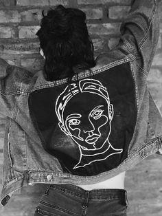 DIY Clothes Sweater Ideen Diy painted denim jacket jacket The Rolex replica Rolex rep Painted Denim Jacket, Painted Jeans, Painted Clothes, Diy Clothes Paint, Diy Jeans, Diy Clothing, Custom Clothes, Modest Clothing, Denim Kunst