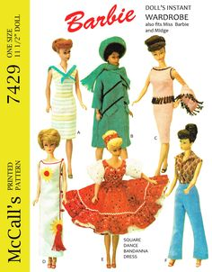 McCalls 7429, reproduced pattern for 11 1/2 inch doll such as barbie, midge, etc. available at http://www.buggsbooks.com