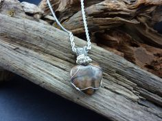 Beautiful Chiastolite or Cross Stone Heart Single Stone Necklace - Handmade in America by carolesart on Etsy