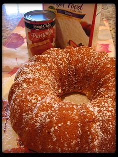 . low fat pumpkin angel food cake...... one box angel food cake mix, 3/4 c. canned pumpkin, 1 c. water, 1 Tbsp. flour,1 1/2 tsp. pumpkin pie spice Bake at 350 for 37-47 min. in tube pan. Invert and cool.