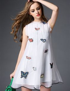 Butterfly Embroidery Organza Dress