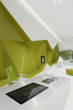Image 16 of 22 from gallery of Flagship Branch Bank DSK / DA architects. Photograph by Minko Minev Bank Interior Design, Interior Wall Colors, Home Office Design, Interior Exterior, Interior Architecture, Workspace Design, Office Workspace, Cool Office Space, Luxury Office