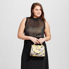 Women's Plus Size Ruffle Trim Shell Black Polka Dot 1X - Who What Wear