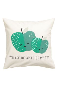 Cushion Cover with Motif | White/apples | H&M HOME | H&M US