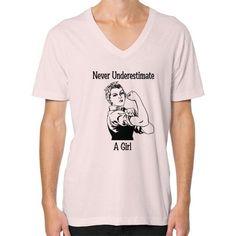 Never Underestimate a Girl V-Neck (on man)