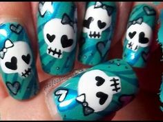 Cute Halloween Nails Perfect For Trick Or Treat! Cute Halloween Nails, Halloween Nail Designs, Cute Nail Designs, Skull Nail Designs, Sugar Skull Nails, Skull Nail Art, Sugar Skulls, Cute Nail Art, Cute Nails