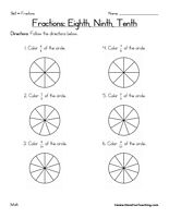 Fractions Worksheet – Eighths, Ninths, Tenths: Color in the pictures to match the fraction.