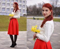 Get this look: http://lb.nu/look/8112212  More looks by Anaivilo B: http://lb.nu/anaivilo  Items in this look:  Newchic Pearl Sweater, Dresslink Red Skirt   #chic #classic #romantic #vintage #retro #feminine #elegant #looks #red
