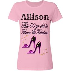 50TH BIRTHDAY SHOE QUEEN DIVA DESIGN | Every fabulous 50 year old will love our chic and unique personalized T Shirts. https://www.customizedgirl.com/s/JLPBirthday #50yearsold #Happy50thbirthday #50thbirthdaygift #50thbirthdayidea #Personalized50th #Happy50th #Personalized50th